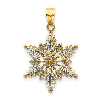 14k Two-tone Polished and Textured 2 Level Snowflake Pendant