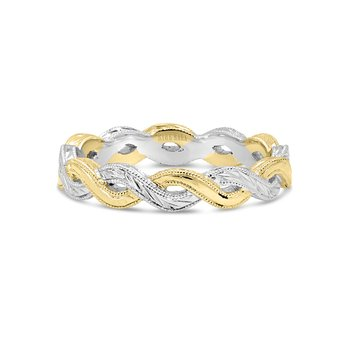 Kirk Kara 18K Two Tone Gold Engraved Twist Band