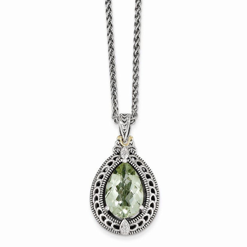 Shey Couture Sterling Silver w/14k Diamond & Green Quartz Necklace