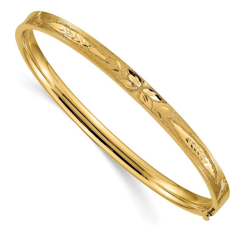 Quality Gold 14k 3/16 Diamond-cut Concave Hinged Bangle Bracelet
