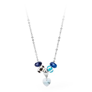 316L stainless steel, blue agathe, coloured glass and light sapphire Swarovski® Elements crystal.