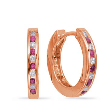 Huggie Earring Diamond & Ruby