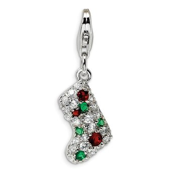 Sterling Silver Amore La Vita Rhod-pl Green Red White CZ Stocking Charm