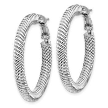 10k 4x25 White Gold Twisted Round Omega Back Hoop Earrings
