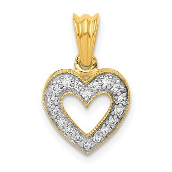 14k White Gold 1/10ct. Diamond Heart Pendant