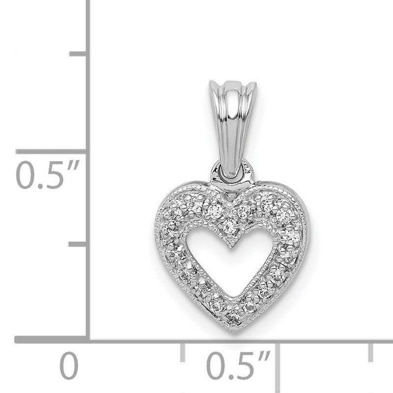 Quality Gold 14k White Gold 1/10ct. Diamond Heart Pendant