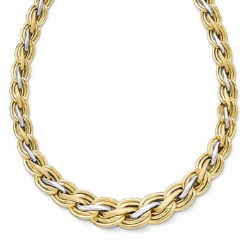 Leslie's 14ky w/Rhodium-plated Polished and Satin Necklace