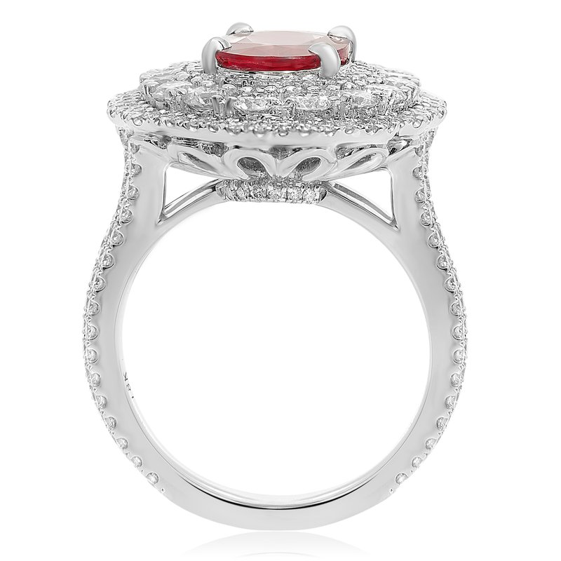 Roman & Jules Triple Halo Ruby & Diamond Ring