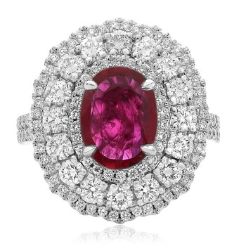 Triple Halo Ruby & Diamond Ring