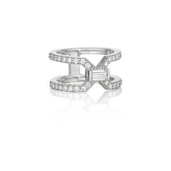 Emerald Cut Diamond Split Ring