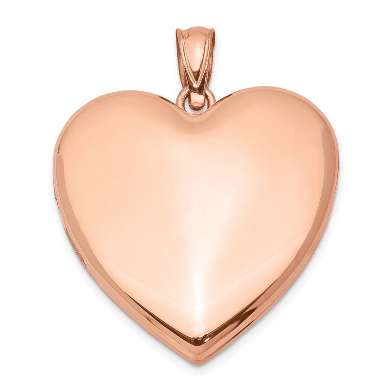 Quality Gold Sterling Silver Rose Gold-plated 24mm Plain Heart Locket