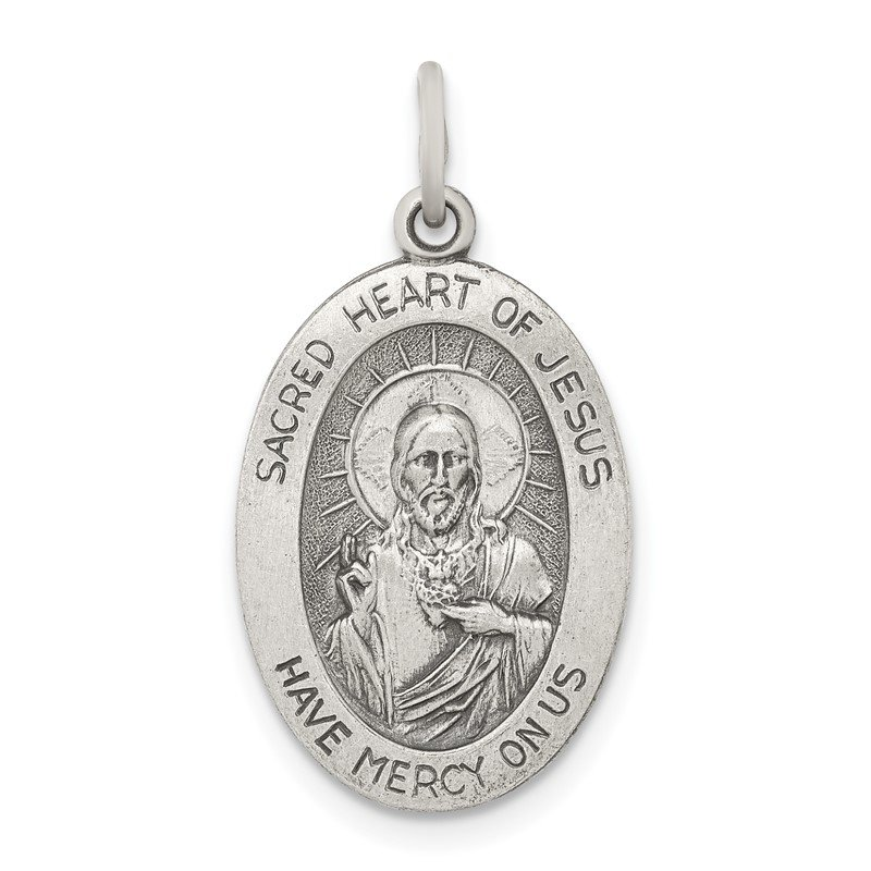 Quality Gold Sterling Silver Antiqued Sacred Heart of Jesus Medal