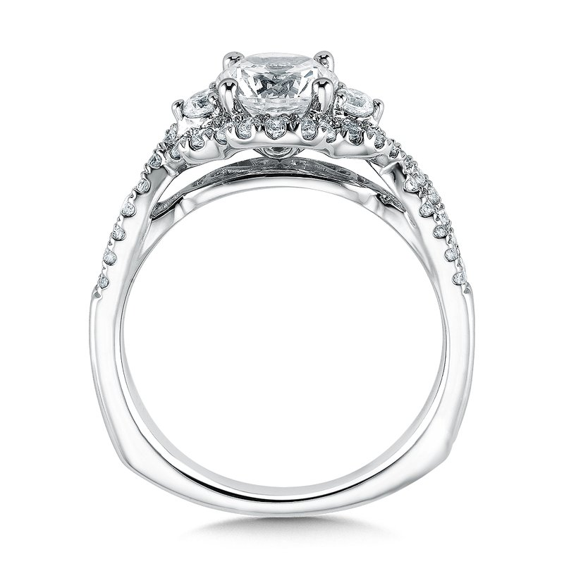 Valina Bridals Mounting with side stones .41 ct. tw., 1 ct. round center.