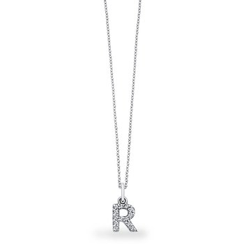 "Diamond Baby Block Initial ""R"" Necklace in 14k White Gold with 13 Diamonds weighing .11ct tw."