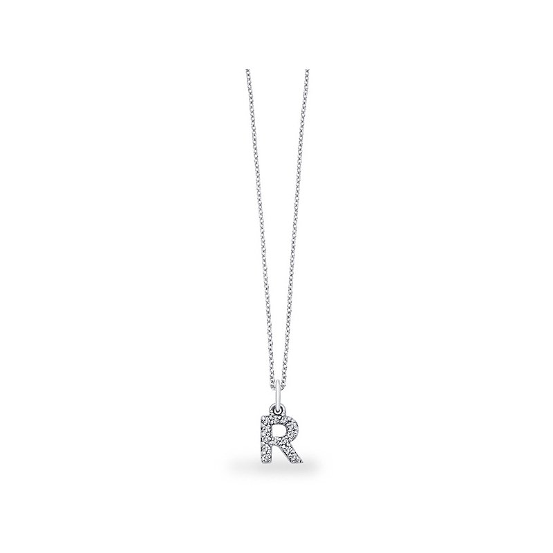"KC Designs Diamond Baby Block Initial ""R"" Necklace in 14k White Gold with 13 Diamonds weighing .11ct tw."