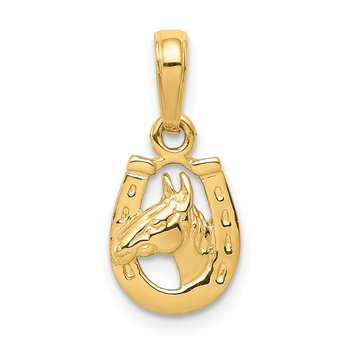14K Horseshoe with Horse Head Pendant