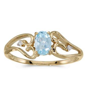 14k Yellow Gold Oval Aquamarine And Diamond Ring
