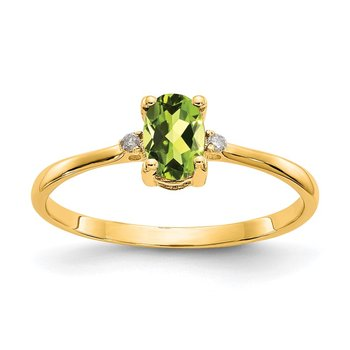 14k Diamond & Peridot Birthstone Ring