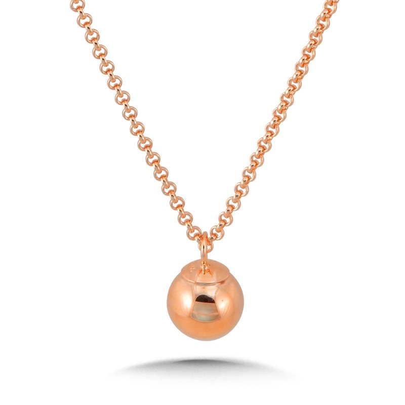 SDC Creations 14K Rose Gold Plated Sterling Silver Dangle Ball Pendant