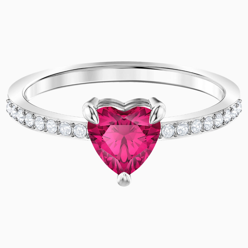 Swarovski One Heart Ring, Red, Rhodium plated