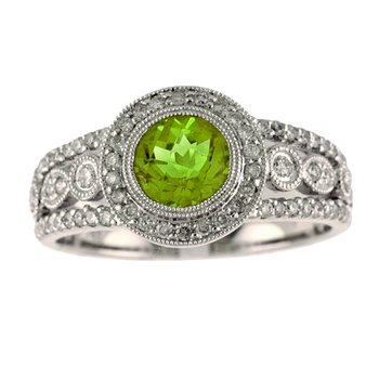 14k White Gold Round Peridot And Diamond Ring