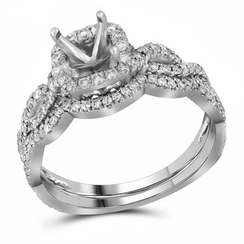 14kt White Gold Womens Diamond Semi-Mount Bridal Wedding Ring Set 5/8 Cttw