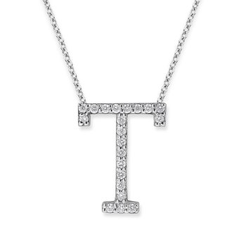 "Diamond All Star Initial ""T"" Necklace in 14K White Gold with 21 diamonds weighing .21ct tw."