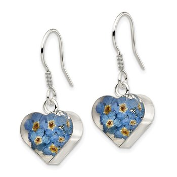 Sterling Silver Shrieking Violet Real Forget Me Not Heart Dangle Earrings