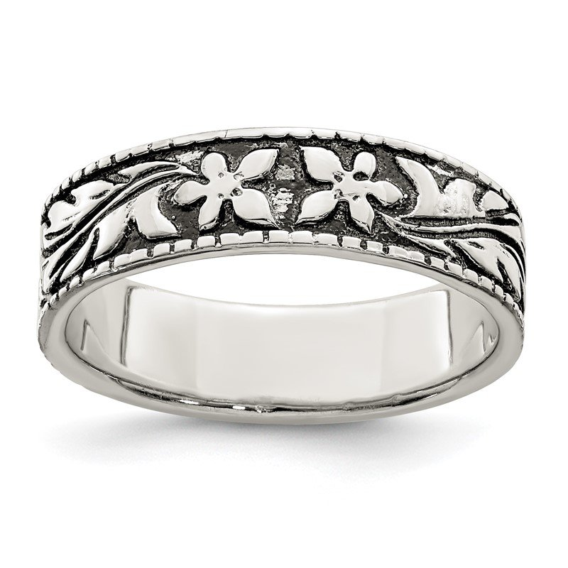 Quality Gold Sterling Silver Antiqued Floral Ring