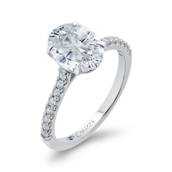 18K White Gold Oval Diamond Cathedral Style Engagement Ring (Semi-Mount)