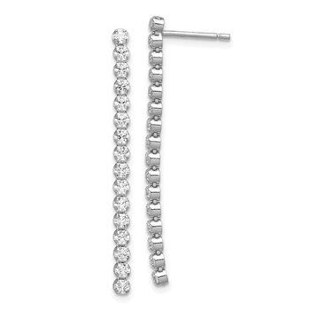Sterling Silver Rhodium-plated Polished CZ Dangle Post Earrings