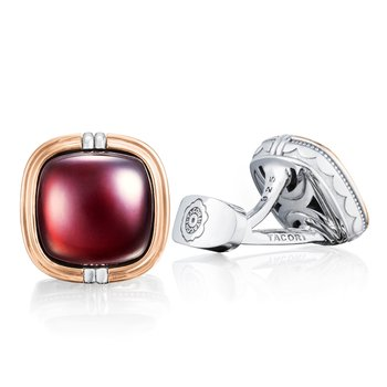 Cushion Cabochon Cuff Links featuring Garnet over Mother of Pearl