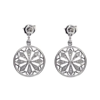 14K White Gold Diamond Disc Dangle Earrings