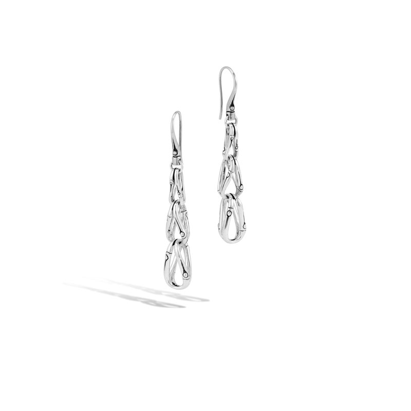 JOHN HARDY Bamboo Linear Drop Earring in Silver