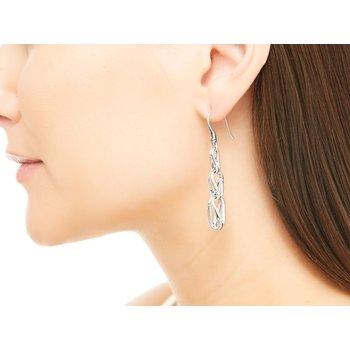 Bamboo Linear Drop Earring in Silver