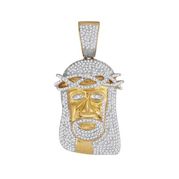 10kt Yellow Gold Mens Round Diamond Jesus Head Messiah Charm Pendant 1-1/5 Cttw