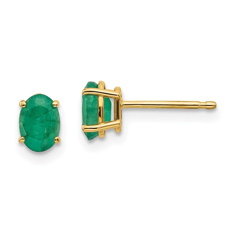 Quality Gold 14k Emerald Earrings - May