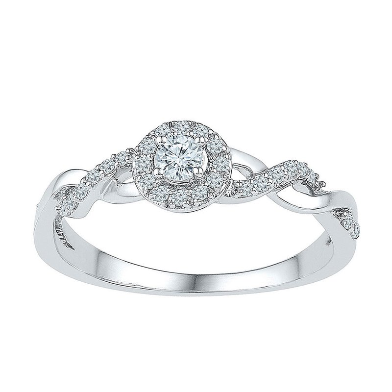 Gold-N-Diamonds, Inc. (Atlanta) 10kt White Gold Womens Round Diamond Solitaire Bridal Wedding Engagement Ring 1/5 Cttw