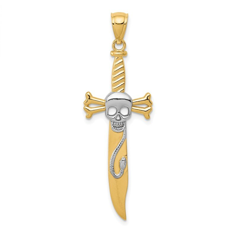 Quality Gold 14k and Rhodium Skull Sword Pendant