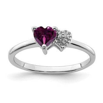 Sterling Silver Polished Rhodolite Garnet and Diamond Ring