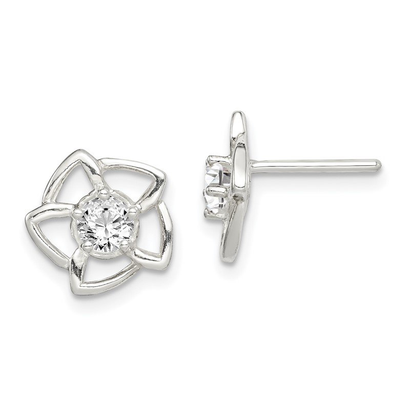 Quality Gold Sterling Silver CZ Flower Post Earrings