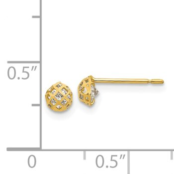 14k Madi K CZ D/C Children's Post Earrings