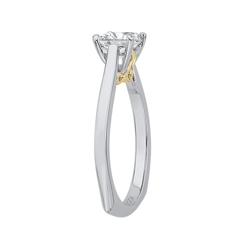 14K Two-Tone Gold Princess Cut Diamond Solitaire Engagement Ring (Semi-Mount)