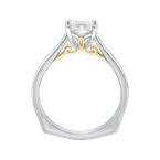 Carizza 14K Two-Tone Gold Princess Cut Diamond Solitaire Engagement Ring (Semi-Mount)