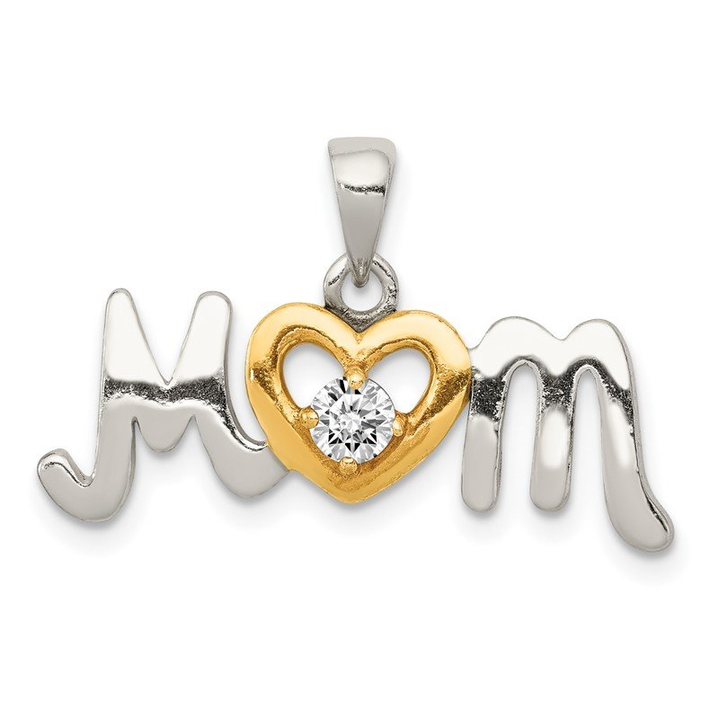 Quality Gold Sterling Silver CZ Polished Diamond-cut Gold-plated Mom Pendant