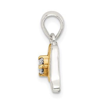 Sterling Silver CZ Polished Diamond-cut Gold-plated Mom Pendant