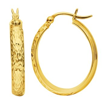 10K Gold Oval Diamond Cut Hoop Earring