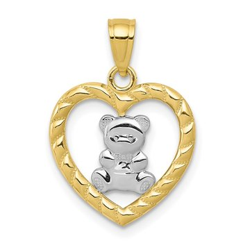 10k w/Rhodium Teddy Bear Heart Charm