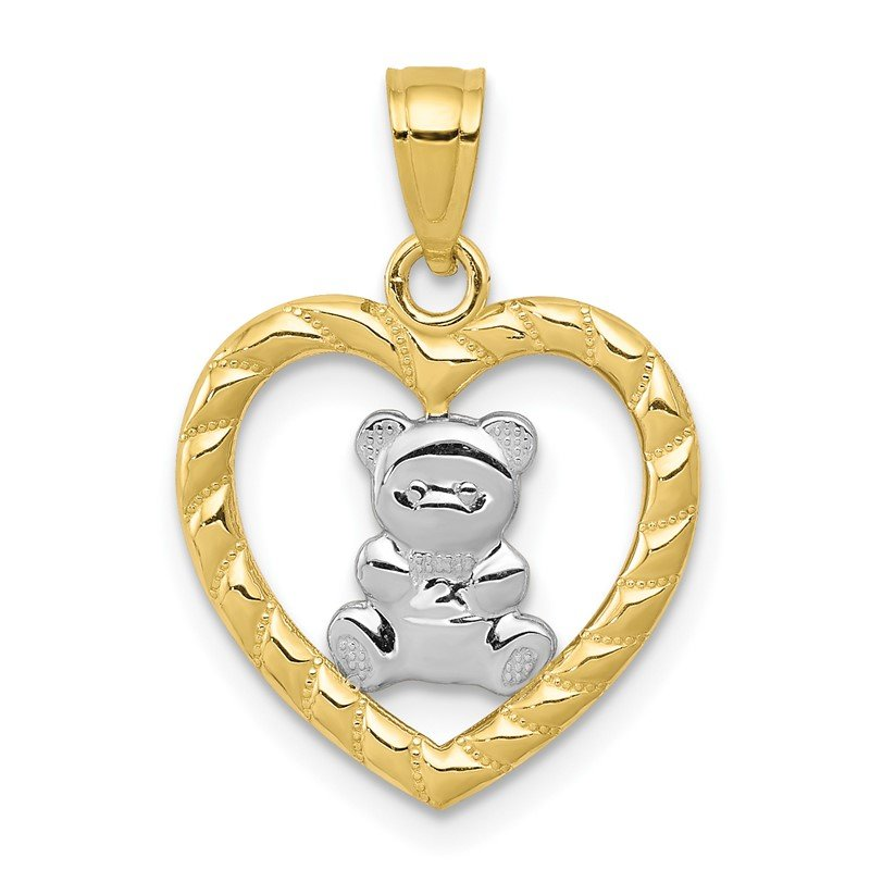 Quality Gold 10k w/Rhodium Teddy Bear Heart Charm