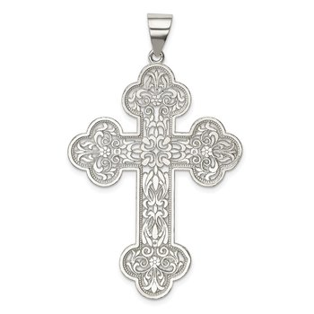 Sterling Silver Polished Large Filigree Cross Pendant